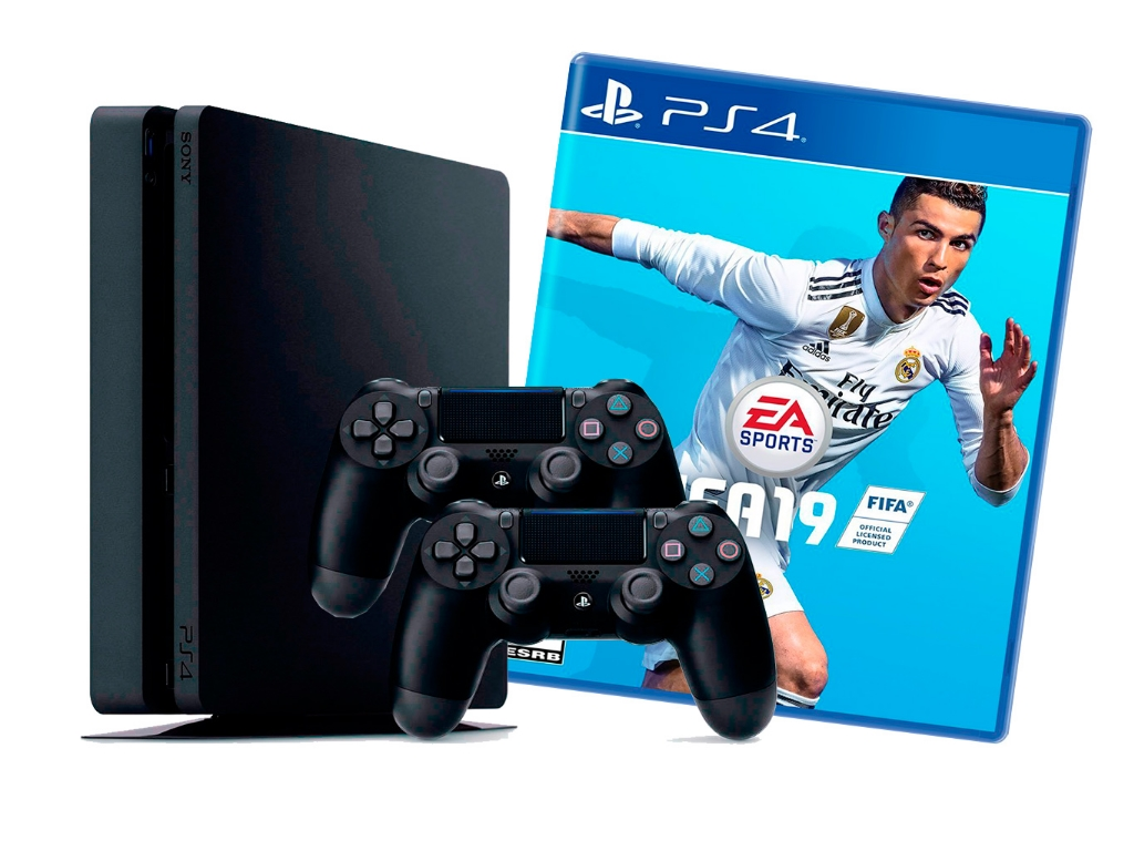 b3b6e2ed5 Game Console Sony PlayStation 4 Slim 1TB Black, FIFA 19 Bundle + FIFA19, 2  x Gamepad (Dualshock 4)